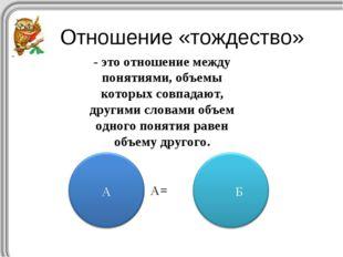 А= Отношение «тождество» - это отношение между понятиями, объемы которых совп