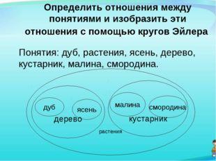 Определить отношения между понятиями и изобразить эти отношения с помощью кру