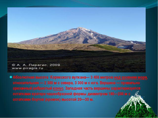 Абсолютная высота Корякского вулкана— 3456 метровнад уровнем моря, относи...