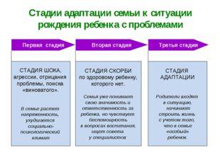 Стадии адаптации семьи к ситуации рождения ребенка с проблемами СТАДИЯ ШОКА,