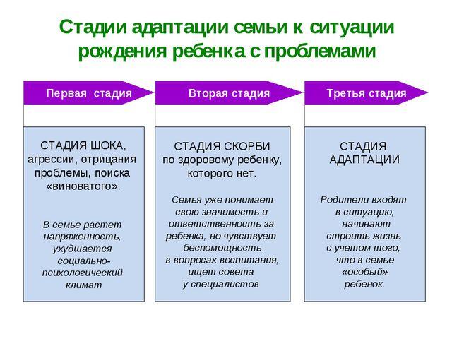 Стадии адаптации семьи к ситуации рождения ребенка с проблемами СТАДИЯ ШОКА,...
