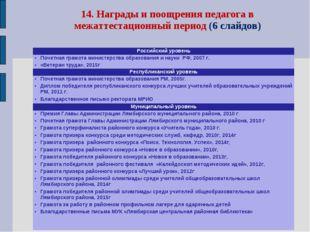 14. Награды и поощрения педагога в межаттестационный период (6 слайдов) Росси