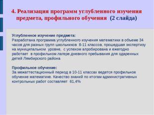 4. Реализация программ углубленного изучения предмета, профильного обучения (