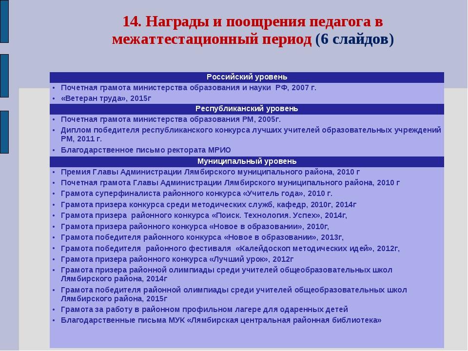 14. Награды и поощрения педагога в межаттестационный период (6 слайдов) Росси...