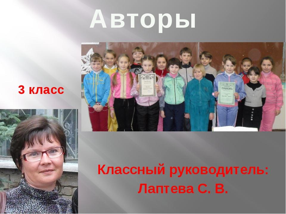 3 класс Классный руководитель: Лаптева С. В. Авторы