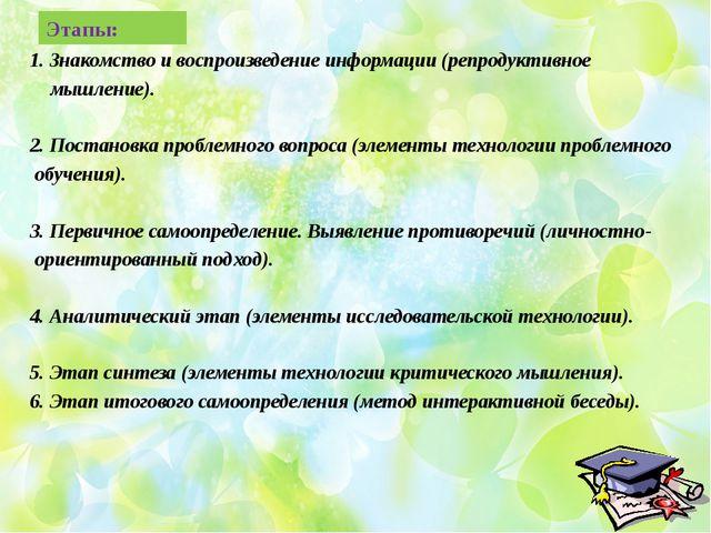 Этапы: 1. Знакомство и воспроизведение информации (репродуктивное мышление)....