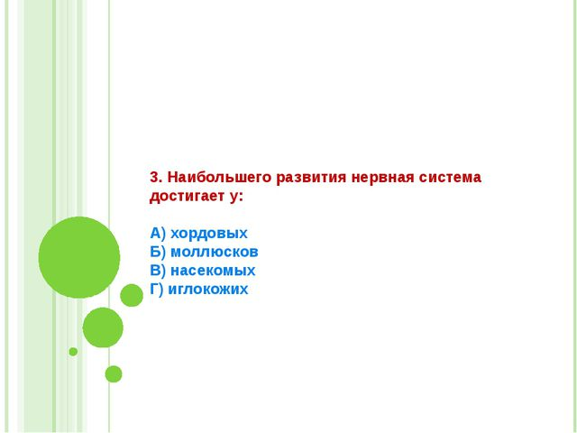 3. Наибольшего развития нервная система достигает у:  А) хордовых Б) моллюско...