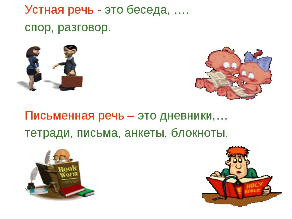 Устная речь - это беседа, …. спор, разговор. Письменная речь – это дневники,…...