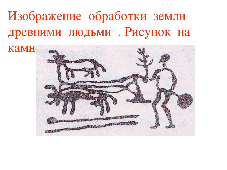 Изображение обработки земли древними людьми . Рисунок на камне.
