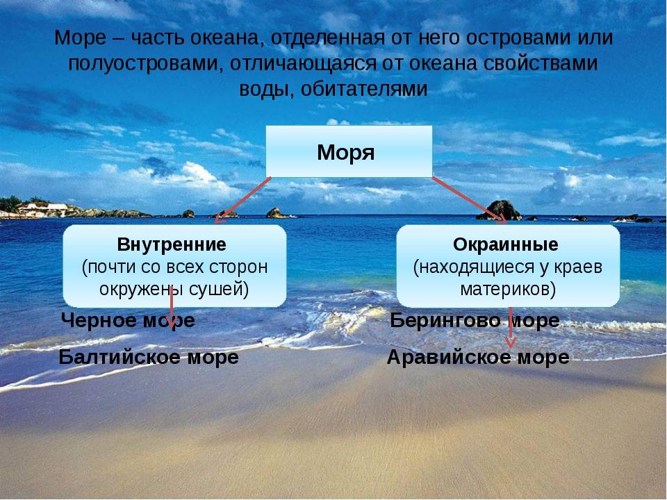 Море – часть океана, отделенная от него островами или полуостровами, отличающ...