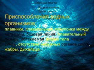 Приспособления водных организмов: плавники, плавательные перепонки между паль