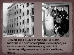 Зимой 1941-1942 г в городе не было топлива и электроэнергии. Ленинградцы жил