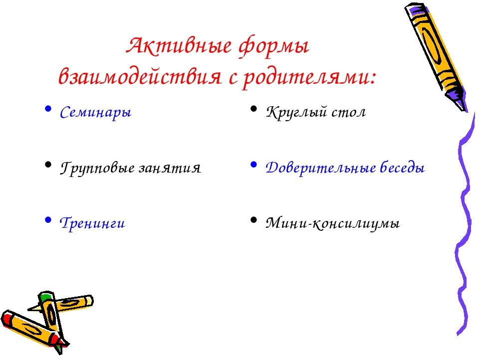 Активные формы взаимодействия с родителями: Семинары Групповые занятия Тренин...