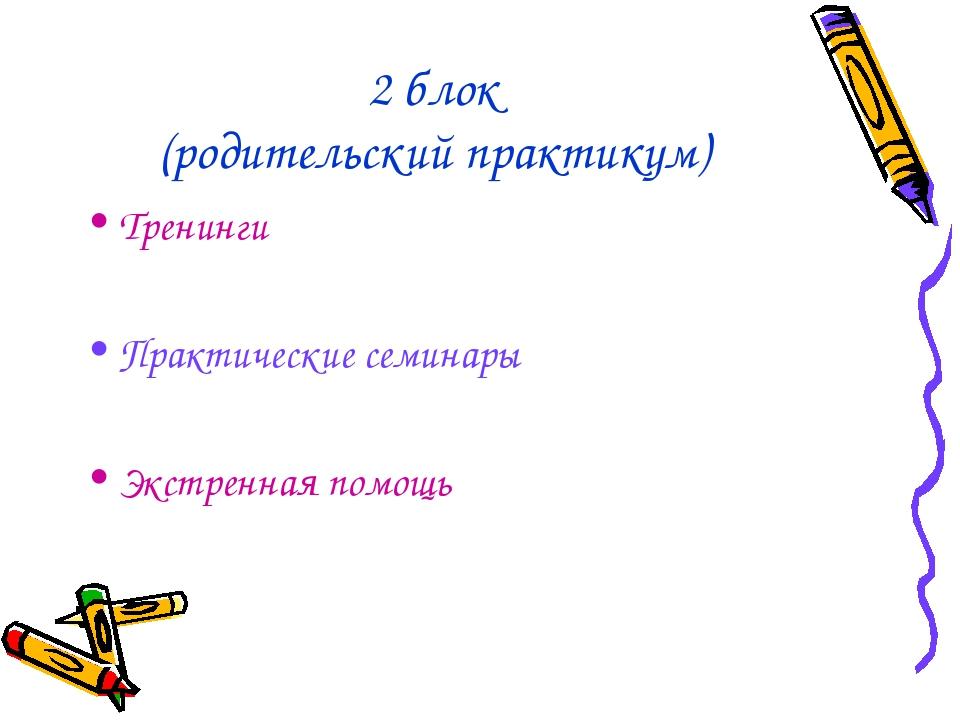 2 блок (родительский практикум) Тренинги Практические семинары Экстренная пом...