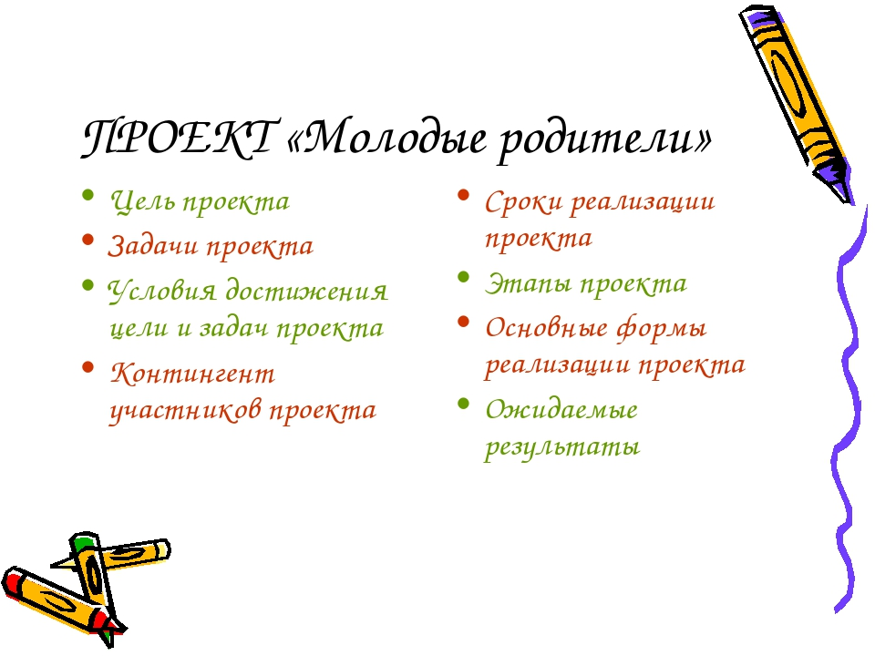 ПРОЕКТ «Молодые родители» Цель проекта Задачи проекта Условия достижения цели...