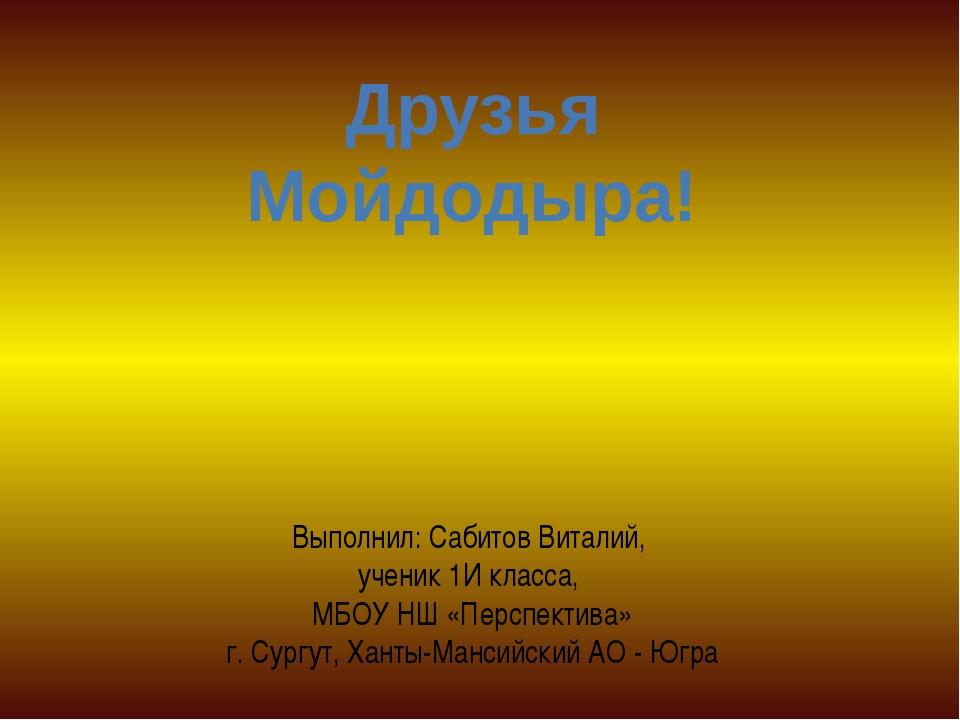 Друзья Мойдодыра! Выполнил: Сабитов Виталий, ученик 1И класса, МБОУ НШ «Перс...