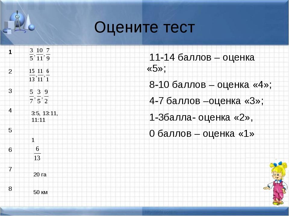 Оцените тест 11-14 баллов – оценка «5»; 8-10 баллов – оценка «4»; 4-7 баллов...