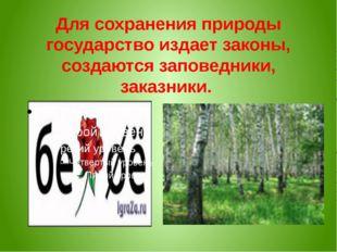 Для сохранения природы государство издает законы, создаются заповедники, зака