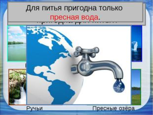 Вся ли вода на Земле пригодна для питья? Реки Ледники Ручьи Пресные озёра Для