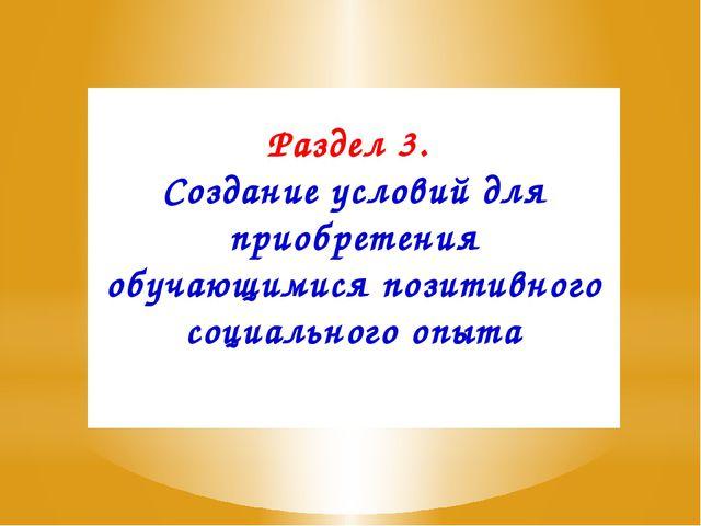 Раздел 3. Создание условий для приобретения обучающимися позитивного социальн...