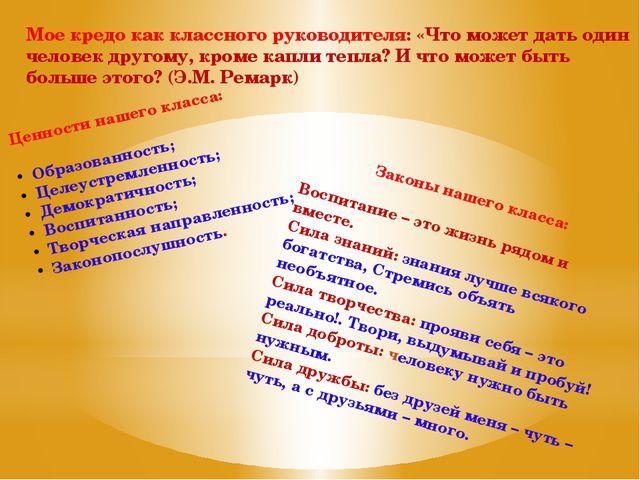 Ценности нашего класса: Образованность; Целеустремленность; Демократичность;...
