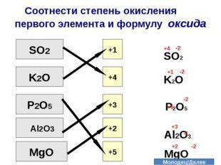 Соотнести cтепень окисления первого элемента и формулу оксида SO2 K2О P2O5 Al