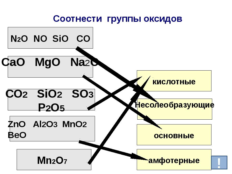 Соотнести группы оксидов N2O NO SiO CO СаО MgO Nа2O СО2 SiO2 SO3 P2O5 ZnO Al2...