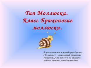 Тип Моллюски. Класс Брюхоногие моллюски. Я приглашаю вас в живой природы мир,