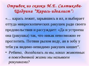 "Отрывок из сказки М.Е. Салтыкова-Щедрина ""Карась-идеалист"": «… карась лежит,"