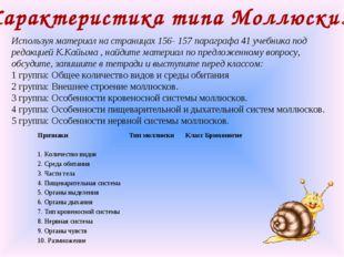 Характеристика типа Моллюски. Используя материал на страницах 156- 157 парагр