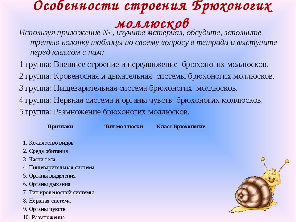 Особенности строения Брюхоногих моллюсков Используя приложение № , изучите ма...
