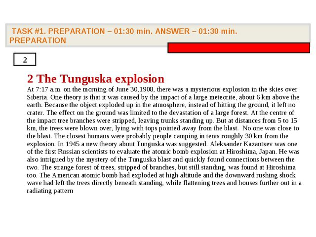 TASK #1. PREPARATION – 01:30 min. ANSWER – 01:30 min. PREPARATION 2 2 The Tu...