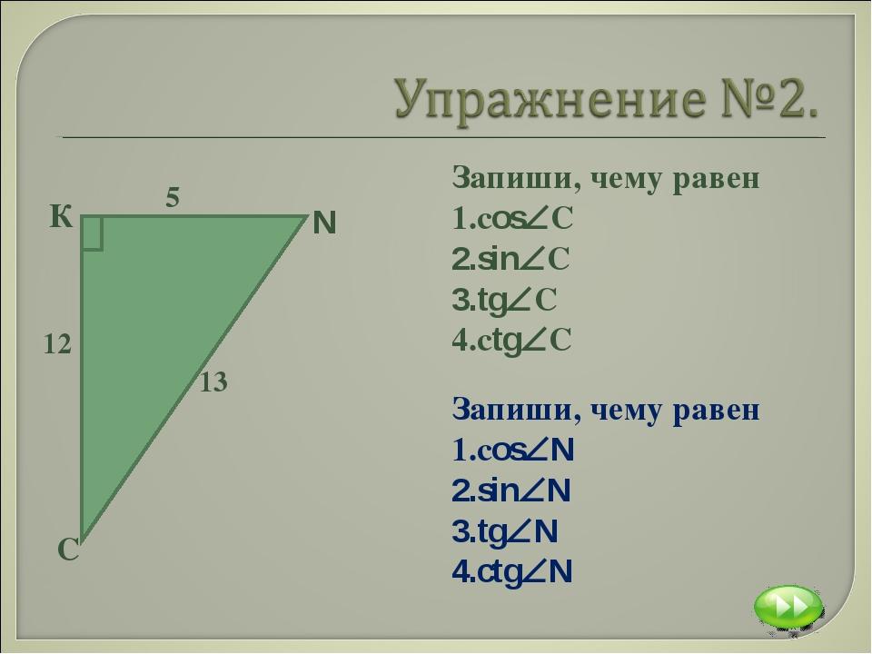 Запиши, чему равен сosС sinС tgС сtgС Запиши, чему равен сosN sinN tgN...