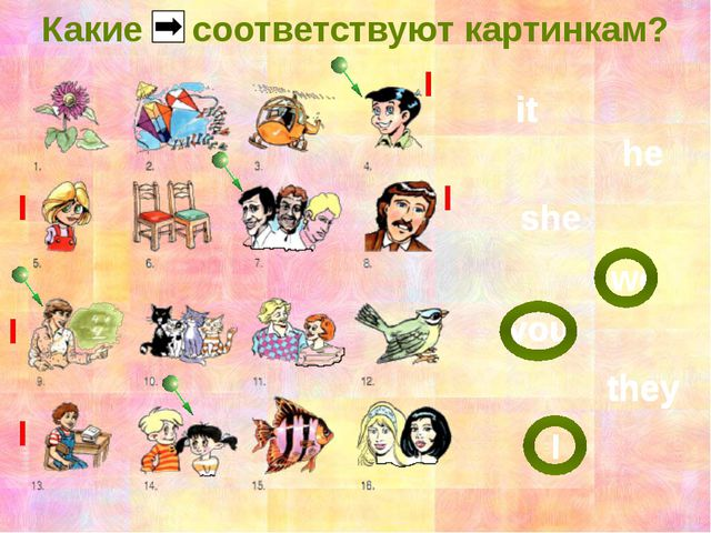 Какие соответствуют картинкам? it he she we you they I it they it he she they...