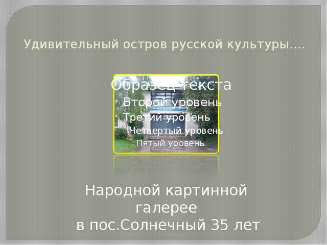 Удивительный остров русской культуры…. Народной картинной галерее в пос.Солн...
