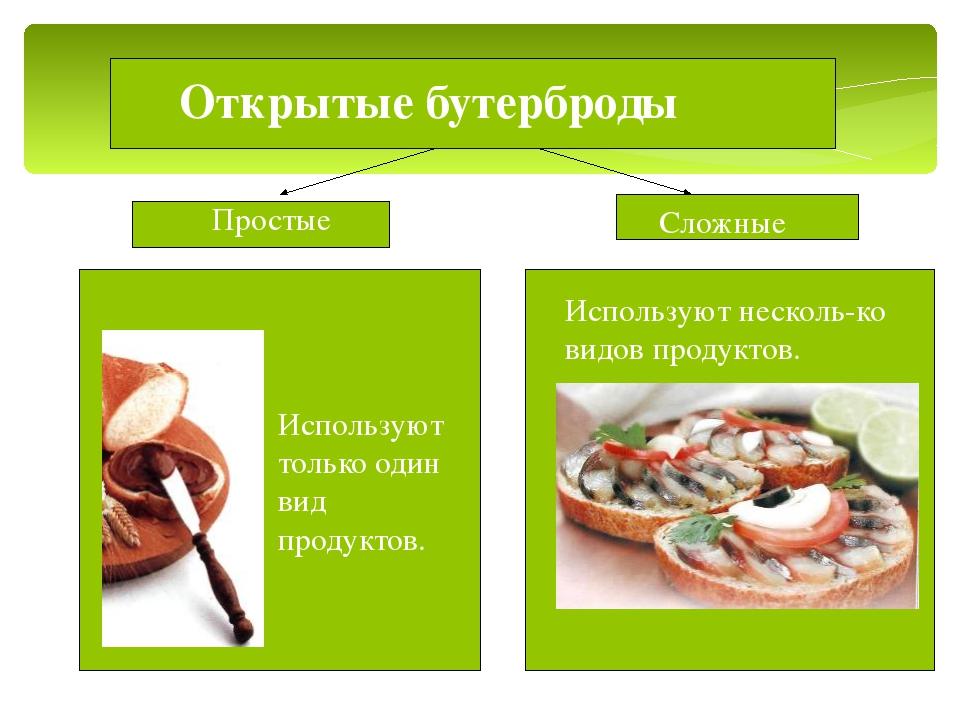 Открытые бутерброды Используют несколь-ко видов продуктов. Сложные Простые И...