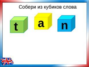 Собери из кубиков слова t a n
