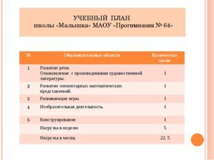 УЧЕБНЫЙ ПЛАН школы «Малышка» МАОУ «Прогимназия № 64» № Образовательные област