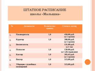 ШТАТНОЕ РАСПИСАНИЕ школы «Малышка» № Должности Количество единиц Сумма в меся