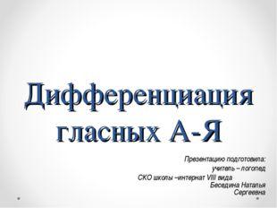 Дифференциация гласных А-Я Презентацию подготовила: учитель – логопед СКО шко