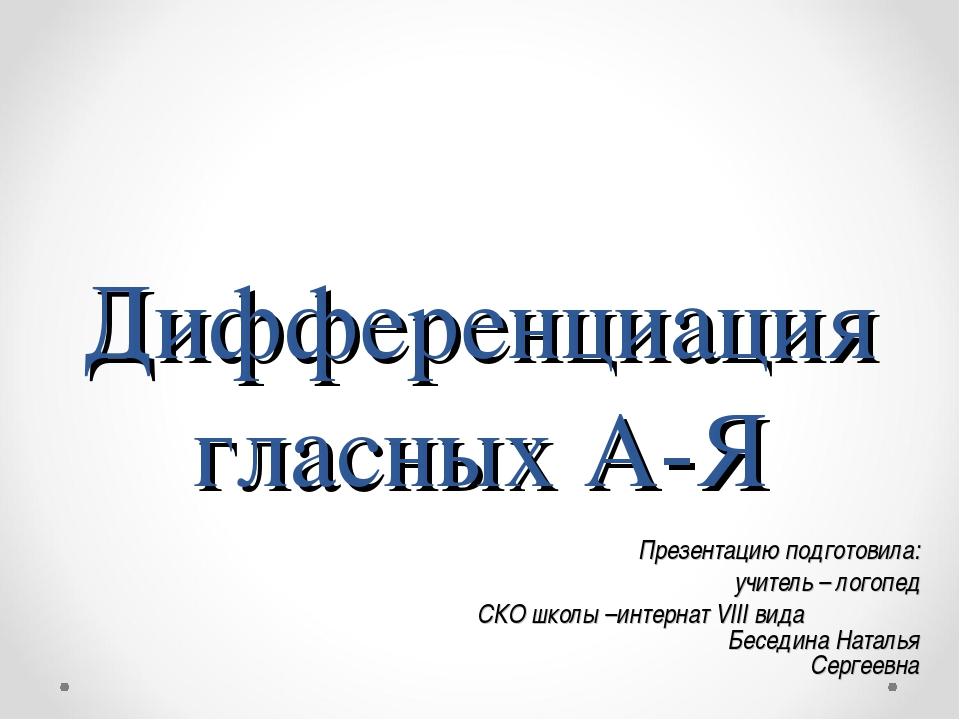 Дифференциация гласных А-Я Презентацию подготовила: учитель – логопед СКО шко...