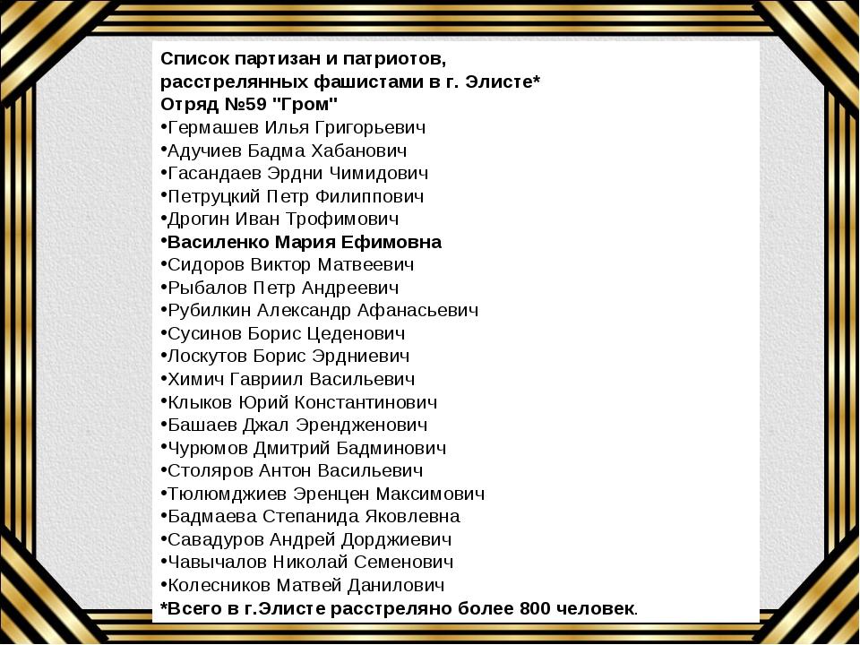 """Список партизан и патриотов, расстрелянных фашистами в г. Элисте* Отряд №59 """"..."""