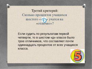 Третий критерий: Сколько процентов учащихся шестого « » учатся на «отлично»?