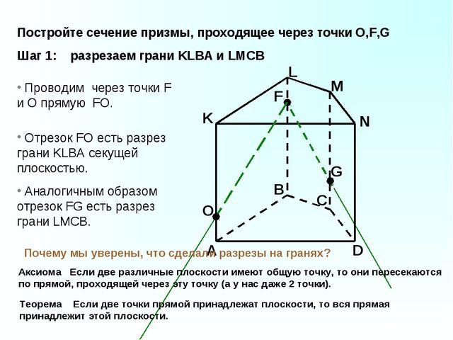 A B C D K L M N F G Проводим через точки F и O прямую FO. O Отрезок FO есть р...
