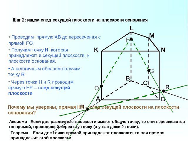 A B C D K L M N F G Шаг 2: ищем след секущей плоскости на плоскости основания...