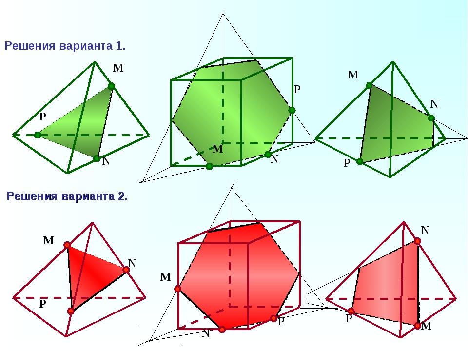 P N M N P M N P M Решения варианта 1. Решения варианта 2. M N P M N P M N P