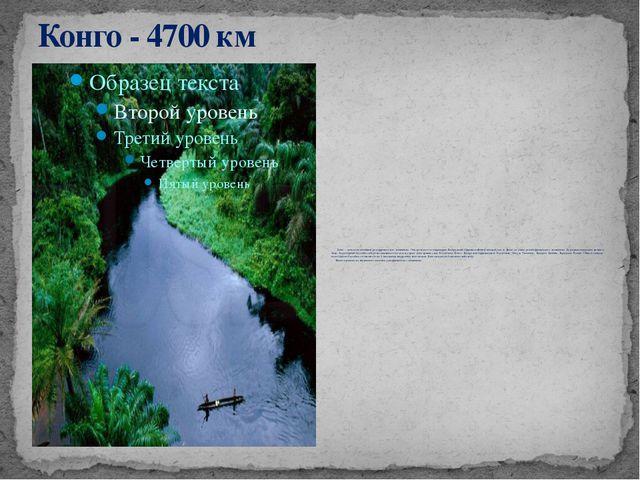 Конго - 4700 км Конго – одна из величайших рек африканского континента. Она п...