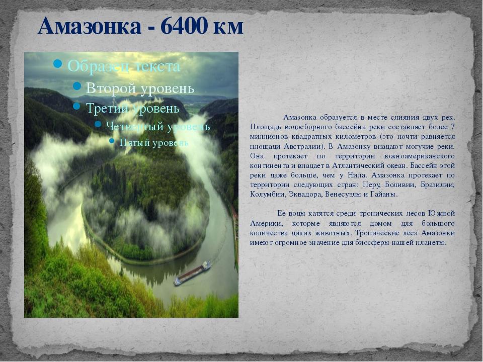 Амазонка - 6400 км Амазонка образуется в месте слияния двух рек. Площадь водо...