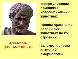 Аристотель (384 - 322гг до н. э.) - сформулировал принципы классификации живо