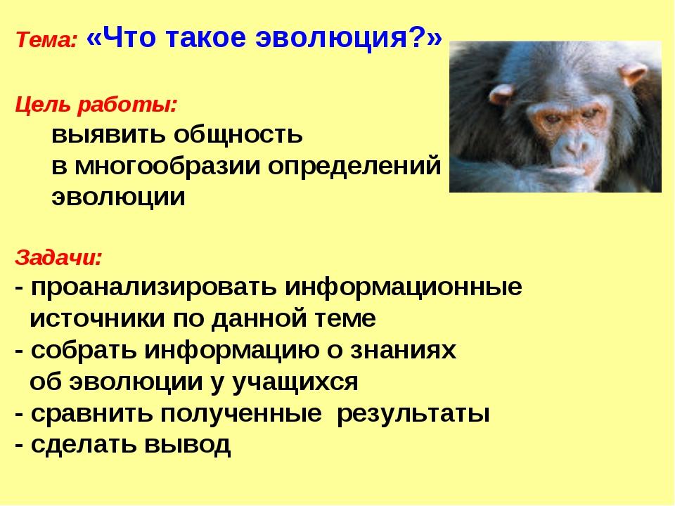 Тема: «Что такое эволюция?» Цель работы: выявить общность в многообразии опре...